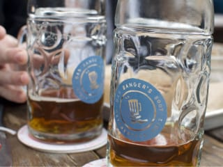 Mugs of Beer at Banger's during Oktoberfest