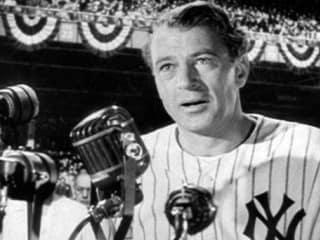 Gary Cooper as Lou Gehrig in Pride of the Yankees