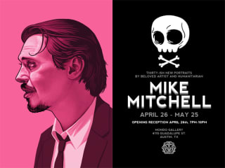 Invitation to Mike Mitchell gallery at Mondo Mr. Pink