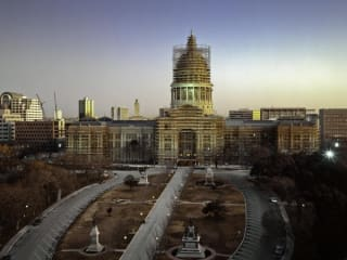 Views of the Capitol exhibit with a photo of the Texas State Capitol during renovation