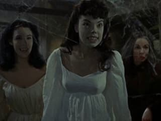 still from film Brides of Dracula with vampires