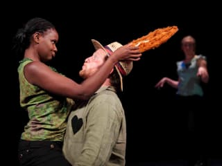 Actors from the London Stage performing Shakespeare's Othello at UT