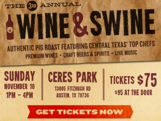 flyer for Wine and Swine pig roast presented by Austin Wine and Food Alliance