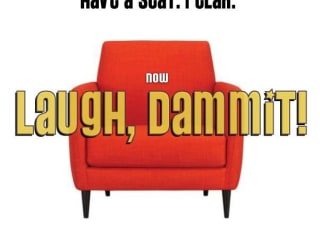 red chair logo for Laugh Dammit at Cap City Comedy Club