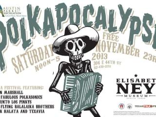 flyer for Texas Folklife's Polkapocalypse at Elisabet Ney Museum