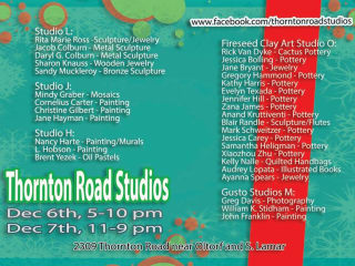 list of artists featured for Thornton Road Studios holiday art sale