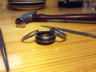 ring with a hammer from Creative Side Jewelry Academy of Austin