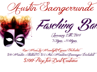 flyer for the Fasching Masquerade Ball at Austin Saengerrunde
