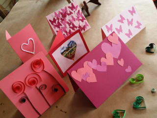 table of handmade Valentine's Day cards