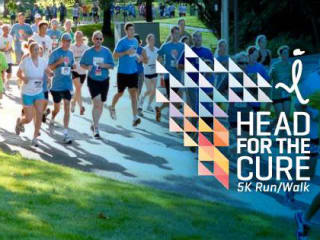 runners and logo for the Head for the Cure 5K
