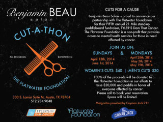 flyer for Benjamin Beau Salon's cut-a-thon to benefit Flatwater foundation
