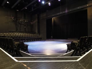 interior stage of Oscar G. Brockett Theatre at UT