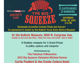 poster for Texas Folklife Big Squeeze 2014 contest