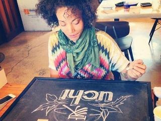 chalkboard artist Jasmine Johnson of Uchi and Uchiko