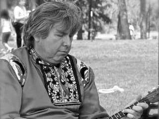Sergey Vashchenko playing balalaika