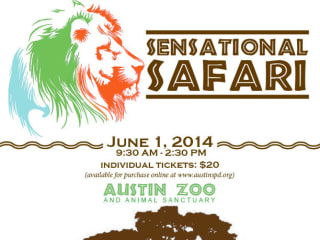 poster for Sensation Safari at Austin Zoo and Animal Sanctuary