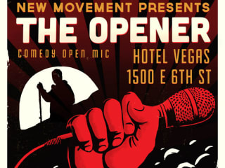 poster for the New Movement's The Opener open mic