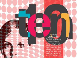 poster for NEST Modern anniversary celebration Ten