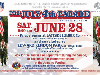 poster for pre-July 4th parade in the barrio