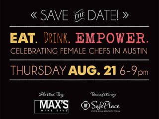 poster for 2014 Eat.Drink.Empower for MAX's Wine Dive austin