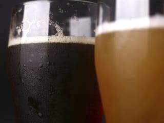 Beer in glasses closeup