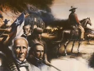 "portion of mural ""Texas Moving Towards Statehood"" at Lorenzo Zavala State Archives and Library Building painted by Peter Rogers"