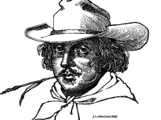 William Shakespeare in cowboy hat drawing for Shakespeare at Winedale ut program
