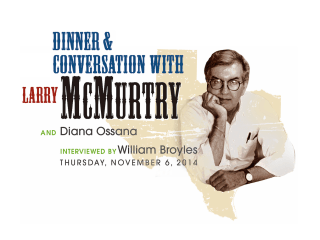 """Center for Houston's Future hosts """"Dinner and Conversation with Larry McMurtry and Diana Osanna"""""""