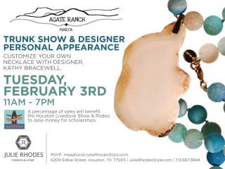 Designer appearance and trunk show: Kathy Bracewell of Agate Ranch + Marfa