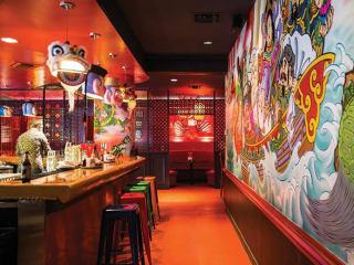 Hot Joy San Antonio restuarant mural interior bar