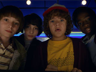 Noah Schnapp, Finn Wolfhard, Gaten Matarazzo, and Caleb Mclaughlin in Stranger Things