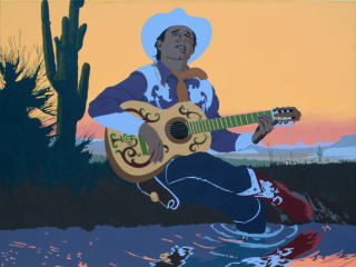 Billy Schenck Singing Cowboys Hero Sunset Oil c
