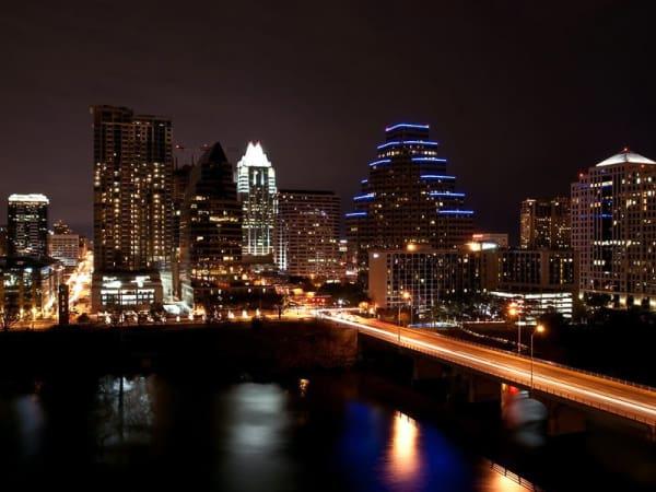 Austin skyline downtown at night