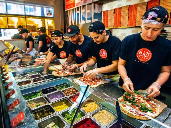 Blaze pizza assembly line