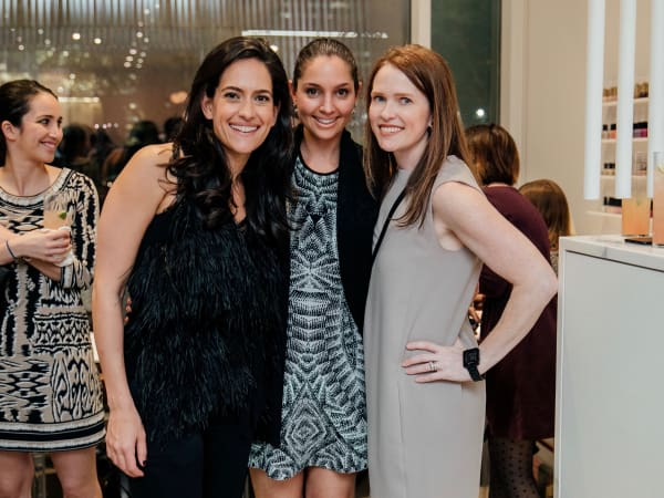 Paloma grand opening, Maryam Naderi poses for a photo with Shireen Owlia, Cynthia Hubbard.
