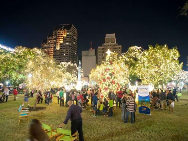 Holiday lights in Travis Park in San Antonio