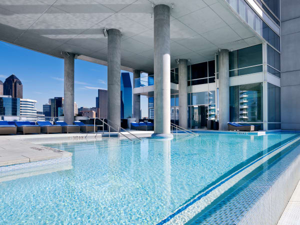 Wet deck and pool at W Dallas Victory hotel
