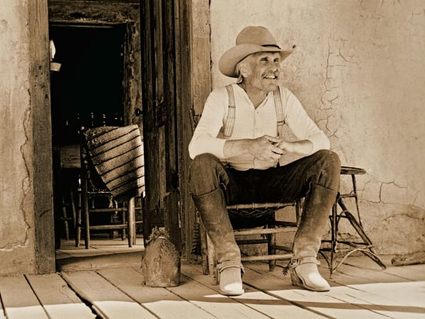 Robert Duvall on the set of Lonesome Dove