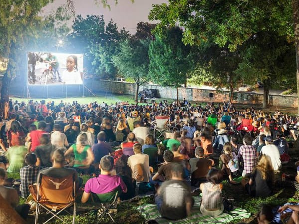 crowd at French Legation for Cinema East screening