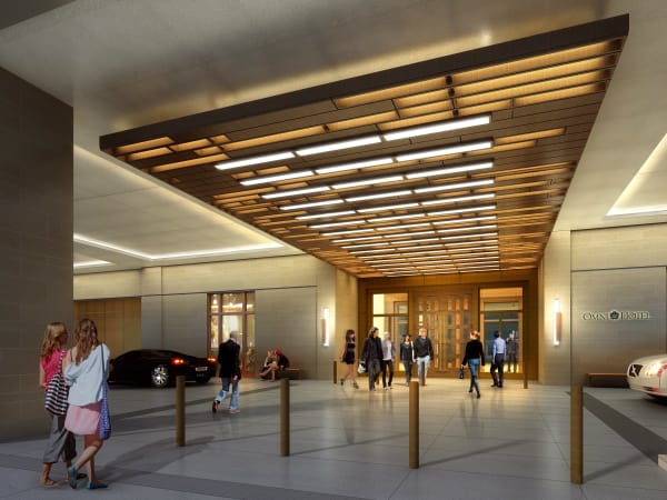 Omni Frisco hotel main entry rendering