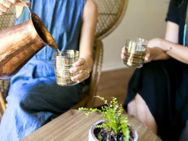 Cat Spring Tea yaupon drinks glasses pitcher pour