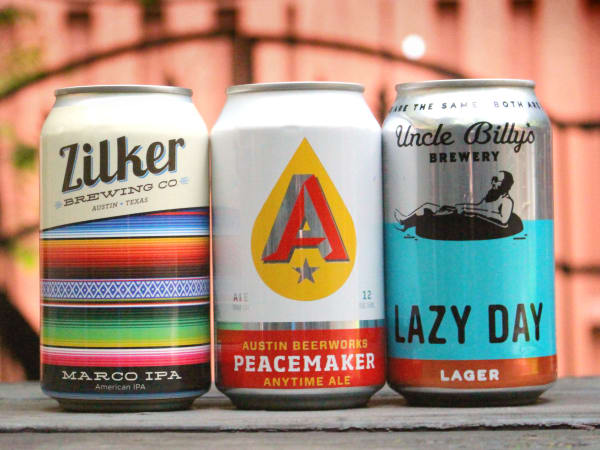 Craft breweries beer cans Zilker Brewing Company Austin Beerworks Uncle Billy's