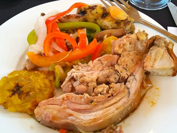 A mix of pork, lamb and grilled quail at the farm dinner.