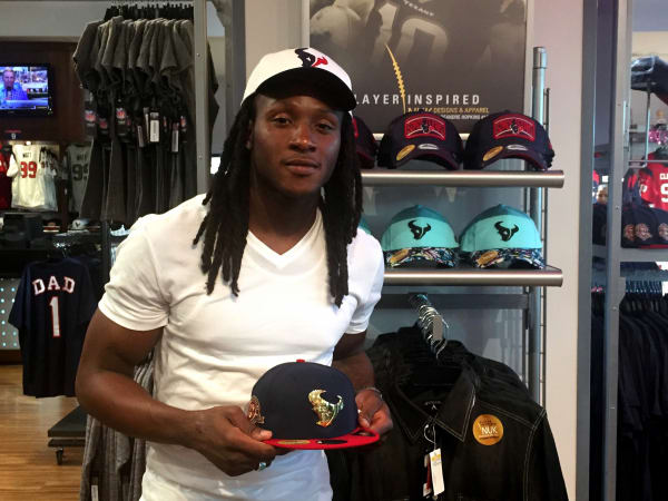 Houston, DeAndre Hopkins, October 2015, DeAndre holding cap