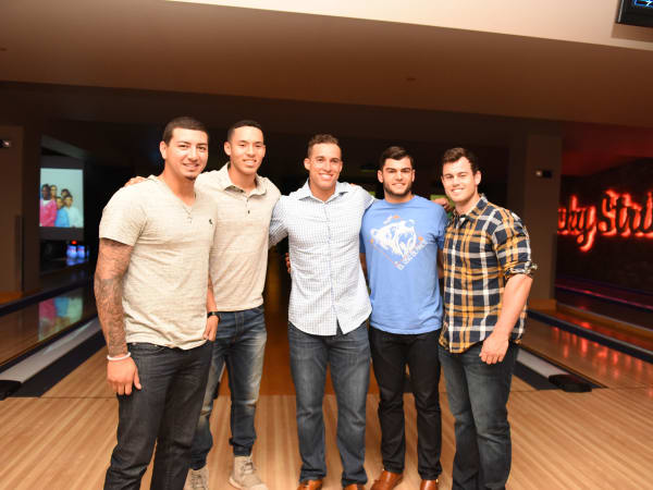 Houston, George Springer All-Star Bowling Benefit, July 2015, Vincent Velasquez, Carlos Correa, George Springer, Lance McCullers, Preston Tucker