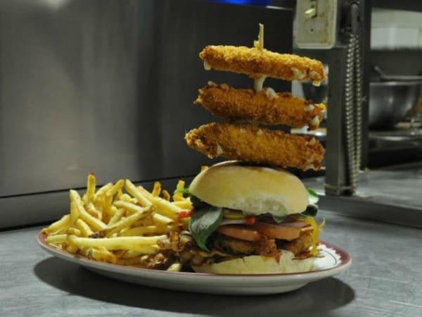 Stacked burger, Maple Leaf Diner