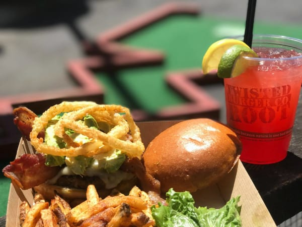 Twisted Root Burger Co in Austin with putt putt course