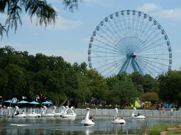 Swan boats and Texas Star ferris wheel