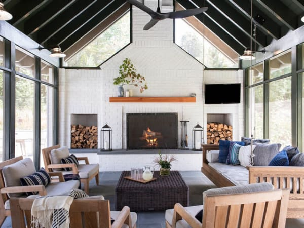 Living room mantel with firewood