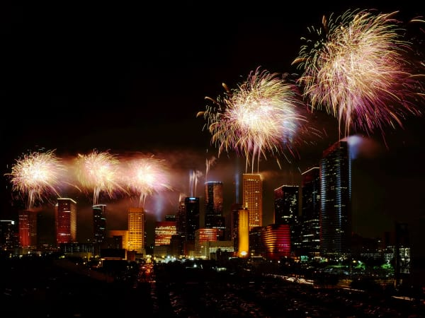 Houston - downtown fireworks